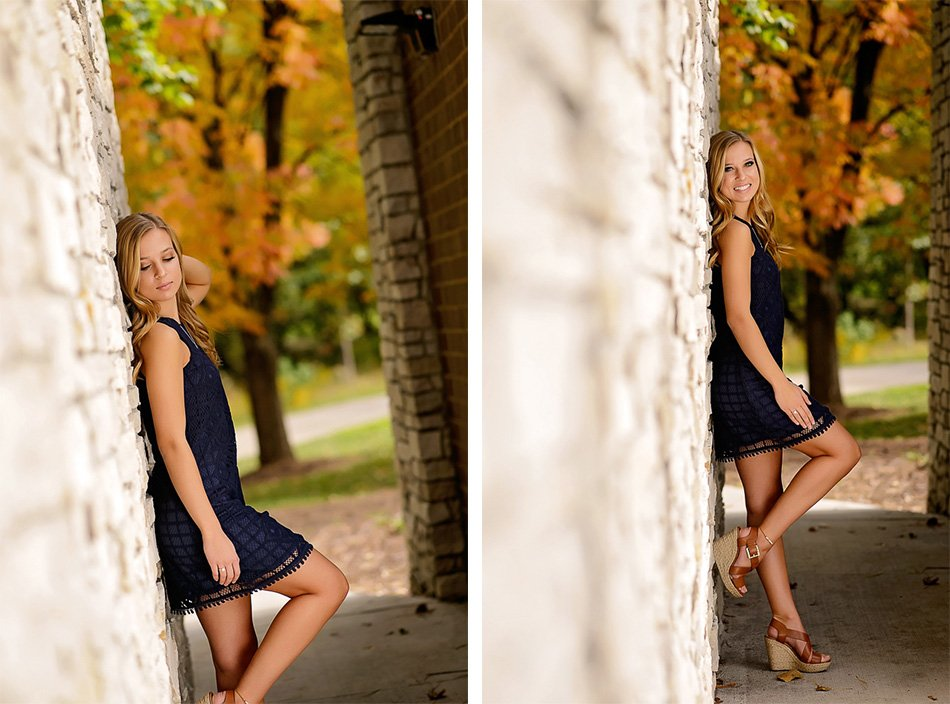 Schaumburg IL high school senior at her outdoor session by the wall