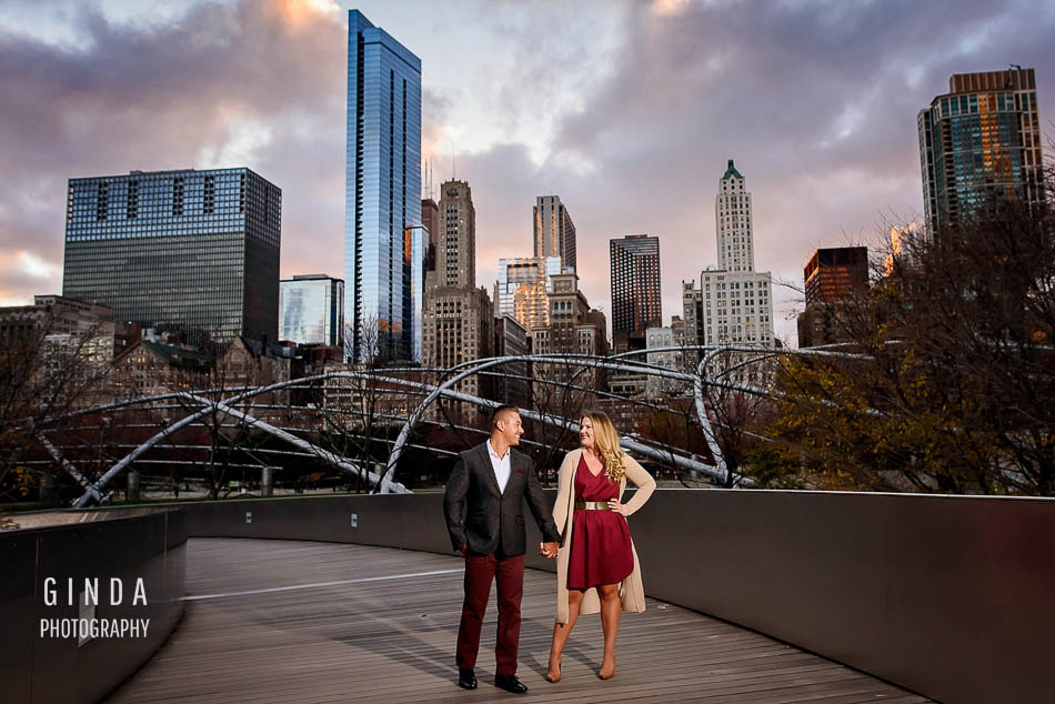 elegant couple holding hands during their chicago engagement