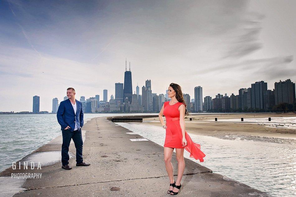 Chicago lakefront engagement photographer