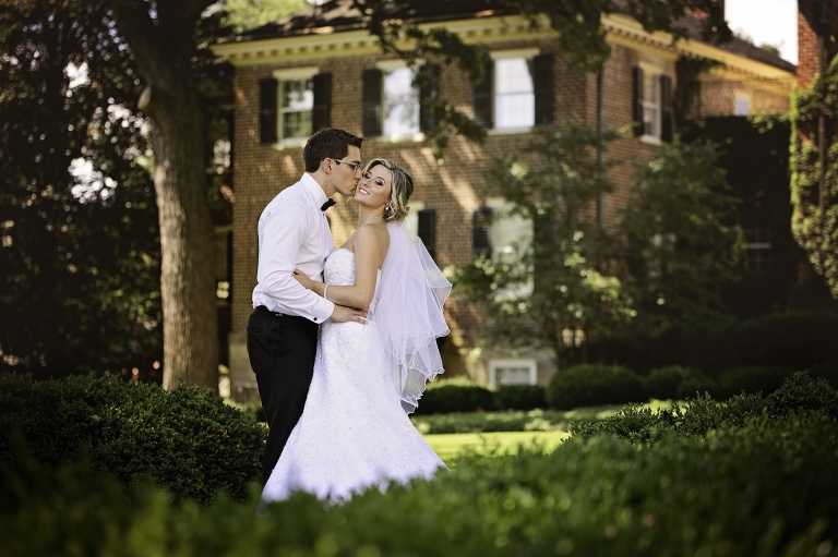 bride and groom at cantigny park photographed by wedding photographer chicago suburbs