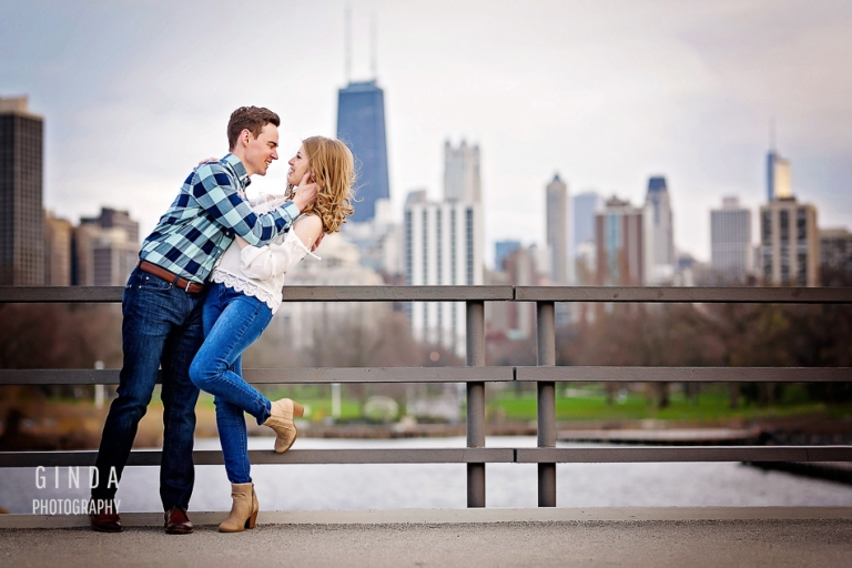 Couple ready to kiss during their Chicago skyline engagement