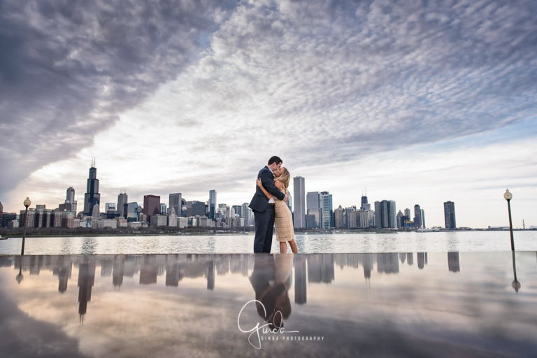 spectacular mirrored chicago engagment photo