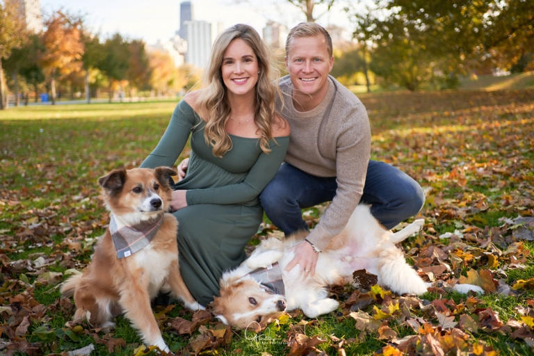 expecting parents cuddling their dogs during their maternity session in lincoln park chicago