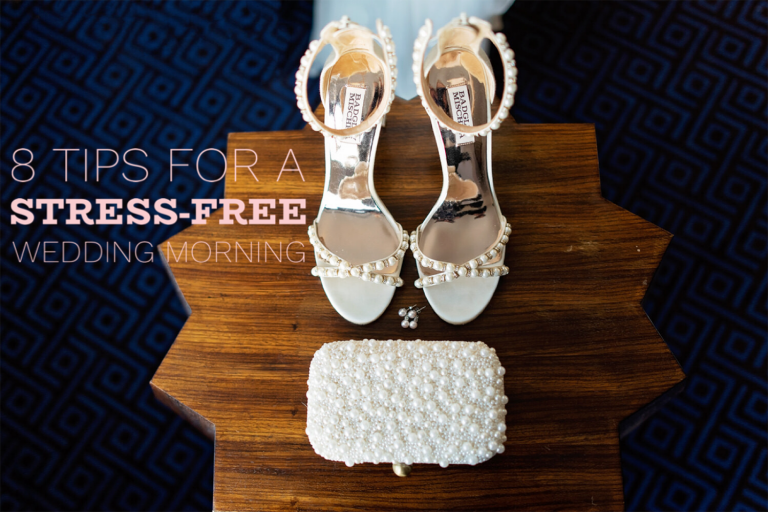 photo of wedding shoes, earrings and clutch set on a wooden hexagon table